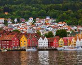 Famous Bryggen street in Bergen Norway - architecture background