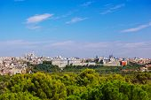 View to Royal Palace and the Almudena Cathedral at Madrid Spain