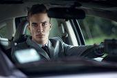 elegance serious stylish men in car
