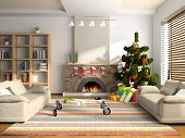 Christmas interior 3D rendering. You can hang your illustration over the fireplace