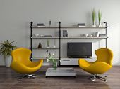 Modern interior with yellow armchairs
