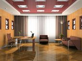 Interior of the modern waiting room 3D rendering