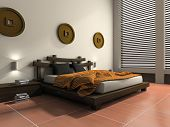 Modern bedroom in  ethnic style 3D rendering