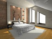 View on the modern bedroom 3D. Photo in magazine was made by me, I uploaded model's release