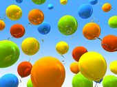 Party balloons in sky 3D rendering