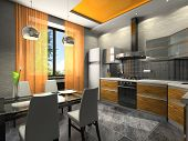 Interior of the fashionable kitchen 3D