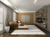 Living-room in the modern apartment 3D rendering