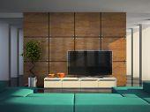 Modern living-room 3D rendering