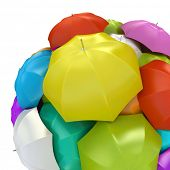 Colorful umbrellas in sphere 3D rendering