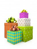 Color gift boxes isolated on white backgroung illustration