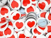 Buttons wirh red  hearts isolated on background 3D rendering
