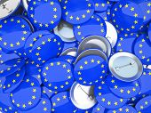 Buttons with EU flag illustration