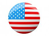 Button with American flag illustration