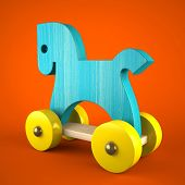 Blue wood horse on red background (symbol of the new year 2014) 3d