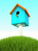 Blue nesting box in the grass 3D