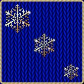 Vector abstract knitted blue background with yellow snowflake embroidery