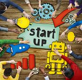 Aerial View with People and Startup Business Concepts