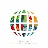 Vector Globe Illustration With Four Seasons Concept