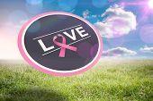 Breast cancer awareness message on poster against sunny landscape