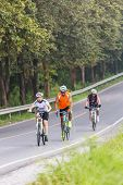 Chonburi, Thailand  - October 2014: Exercise By Bicycle On The Road In Bangpra Dam. This Activity Is