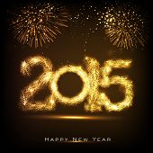 Happy New Year 2015 celebrations greeting card design with golden text on fireworks decorated brown background.