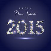 Happy New Year 2015 celebrations greeting card design with floral design decorated text on blue background.
