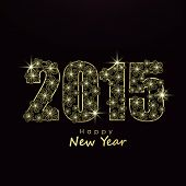 Happy New Year 2015 celebrations greeting card design with shiny text on black background.