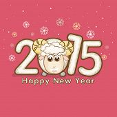 Happy New Year 2015 celebration concept with stylish text and sheep face on pink background.