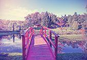 Vintage Picture Of Red Bridge In Garden.