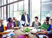 stock photo of cheer-up  - Diverse Casual Business People in a Meeting - JPG