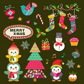 Vector set of Christmas symbols, icons, elements and decoration