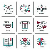 Education Subjects Line Icons Set