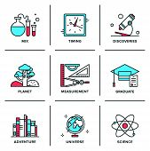 picture of science  - Flat line icons set of discovery new things school measurement items science and chemistry planet adventures planet geography - JPG