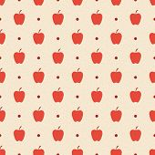 Retro Seamless Pattern. Red Apples And Dots On Beige Textured Background.