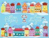 Christmas And New Year Holidays Card With Small Fairy Town On Light Blue Background With Decorative