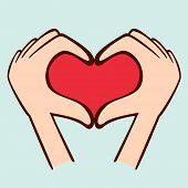 Fingers making shape of heart