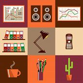 Flat Vector Set Of Office