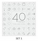 40 Thin Line Icons. Set 1.