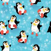 Seamless Pattern With Funny Penguins And Snowflakes On Blue Icy Background, Design For Winter, Chris