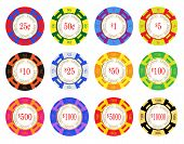 foto of ten thousand dollars cash  - American casino chip vectors - JPG