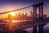 stock photo of brooklyn bridge  - New York City  - JPG