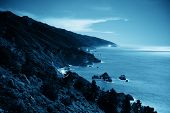 Seascape in Moonlight in Big Sur in California.