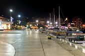 Boats Along Seafront In Yalta City In Night