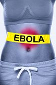 Ebola virus infection. Text on woman stomach symbolizing patient. Ebola symptoms inlcudes nausea, vomiting, diarrhea and stomach pain.