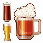 stock photo of guinness  - Three beer glasses isolated on white - JPG