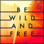 Inspirational Typographic Quote - Be wild and Free