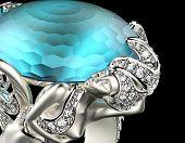 pic of aquamarine  - Golden Engagement Ring with Blue topaz or aquamarine - JPG