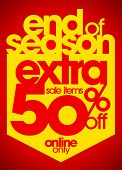 End of season extra 50% off sale items typography illustration.