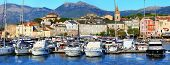 pictorial old town port Saint Florent , Corsica