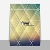 Flyer or Cover Design with Triangle Mosaic Pattern - Blurred Image Background